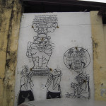 針金で作られたウォールアートが街中いたるところに!